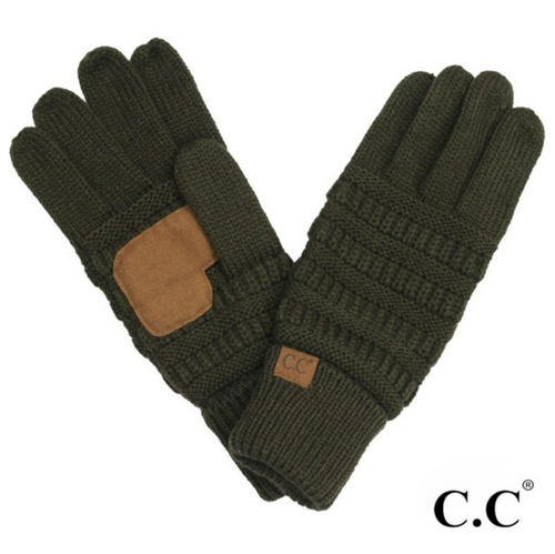 CC Solid Knit Cable Gloves with Lining - New Olive