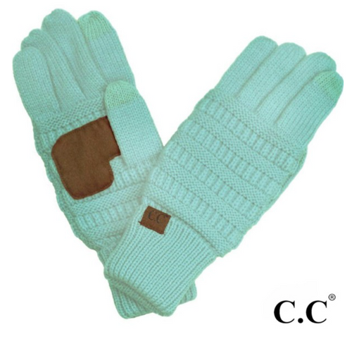 CC Solid Knit Cable Gloves with Lining - Mint