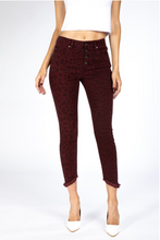 Load image into Gallery viewer, KanCan Animal Print Skinny Jean - Burgundy