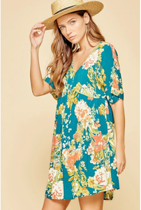A Lucky Day Floral Dress - Teal