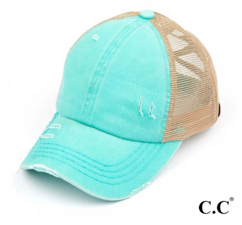 CC Brand - Washed Denim Criss Cross High Ponytail Ball Cap - Mint