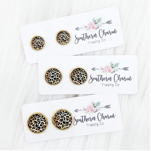 Mini Golden Leopard in Gold Stud Earrings