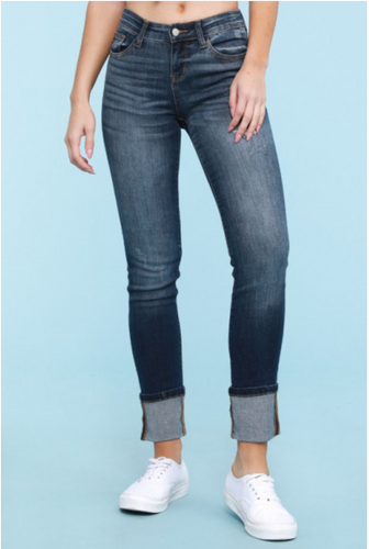 Judy Blue Relaxed Fit Dark Denim Cuffed Jean