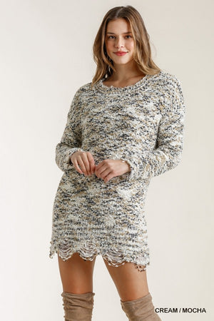 A Night Away Sweater Tunic - Cream & Mocha