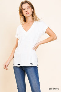 You're My Fav Distressed Hem Tee - Off White