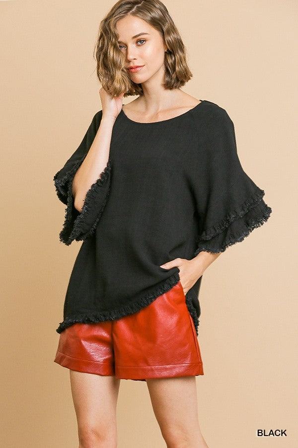 Sweet Bliss Ruffle Sleeve Top