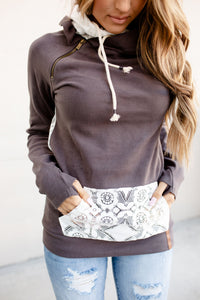 Ampersand Avenue - Doublehood™ Sweatshirt Lace Accent - Charcoal