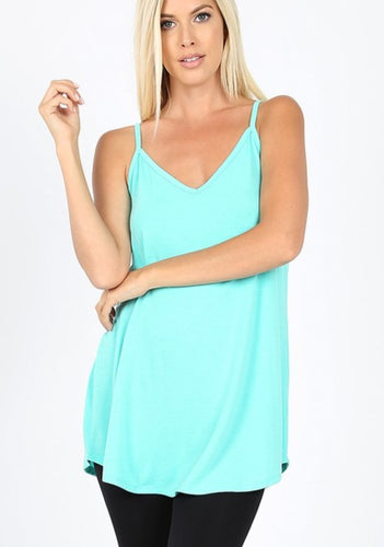 Reversible V-neck/Scoop-neck Tank - Mint