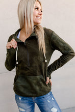 Load image into Gallery viewer, Ampersand Avenue Halfzip Hoodie Olive Tie Dye
