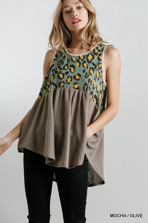 A Fine Day Mixed Materials Tank - Mocha/Olive