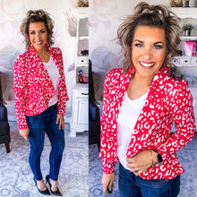 Load image into Gallery viewer, I Am Woman Peplum Jacket - Hot Pink Leopard