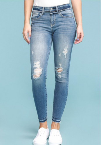 Judy Blue Raw Waistband Skinnies