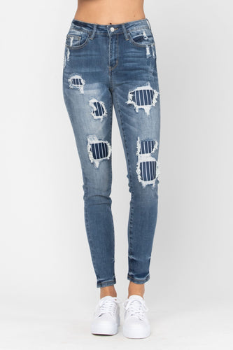 Judy Blue Pinstripe Patch Jeans