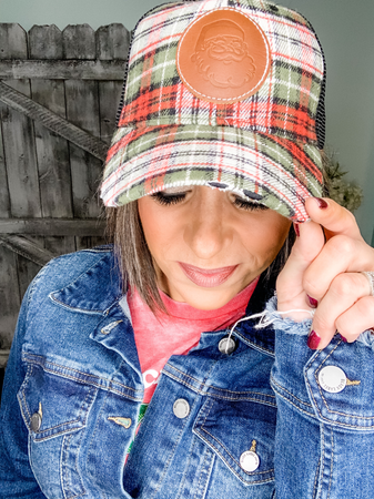 Plaid Santa Cap