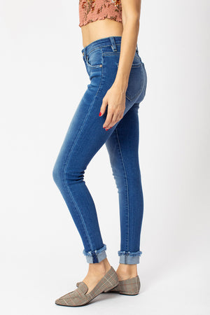 KanCan Mid Rise Cuffed Ankle Skinny Jeans