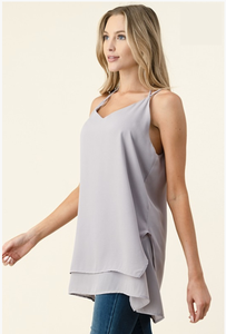 So Much More Than Yesterday Layered Tank - Lilac Grey