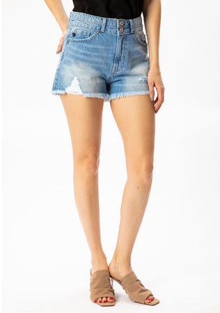 KanCan High Rise Double Waistband Shorts