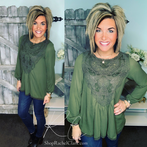 A Lace of Hope Blouse - Olive