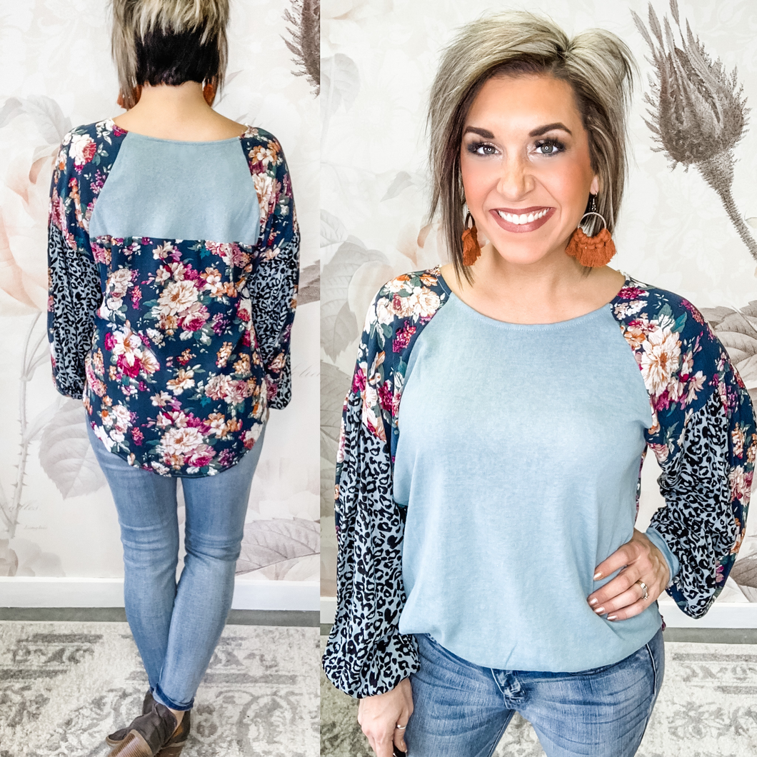 Waiting On You Blouse - Dusty Mint