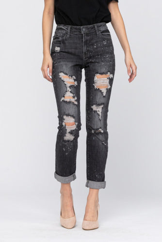 Judy Blue Black Bleach Splatter Boyfriend Jeans