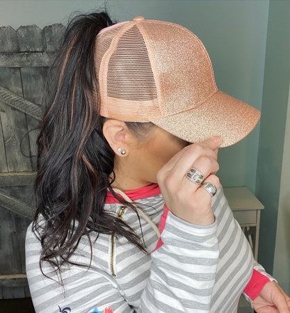 CC Brand - Glitter High Ponytail Ball Cap - Rose Gold
