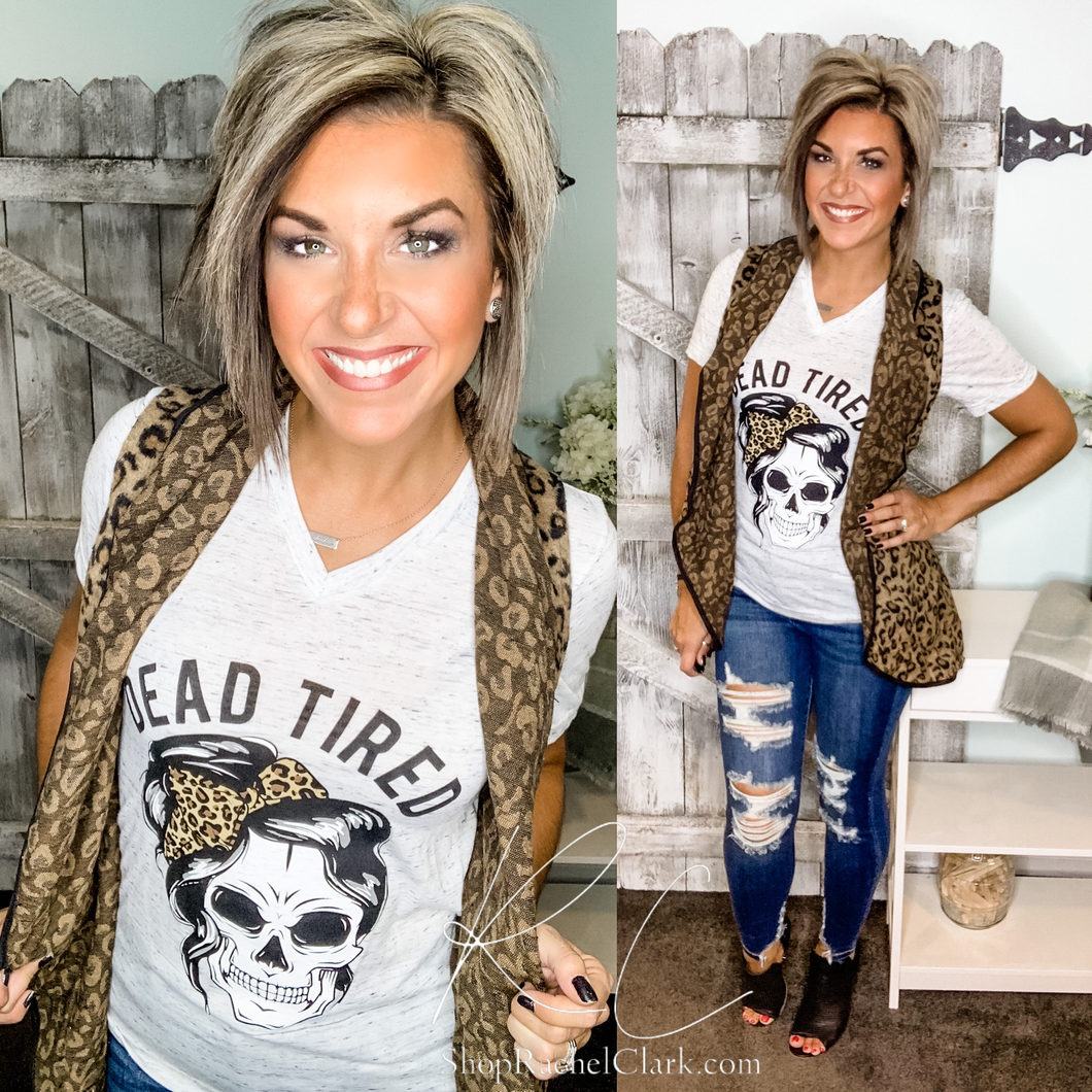 Dead Tired Leopard Skull Graphic Tee