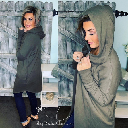 Falling Into You Hooded Cardigan - Olive