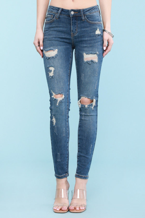 Judy Blue Mid Rise Destroyed Skinnies