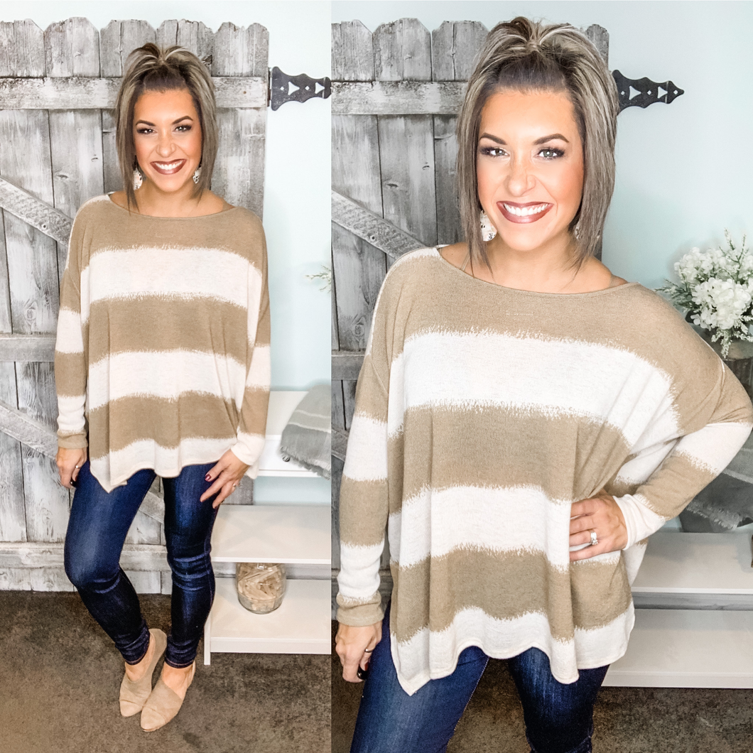 Excited to See You Poncho Top - Taupe