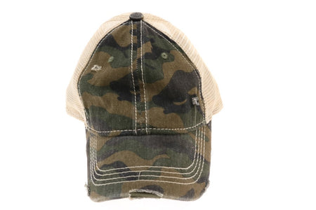 CC Brand - Distressed Camoflague Mesh Back Ball Cap - Olive