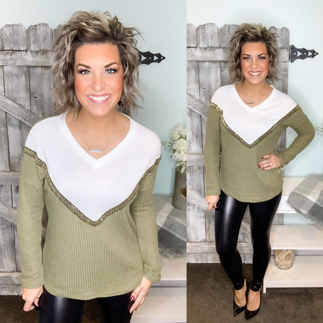 Starting Fresh Chevron Detail Top - Olive