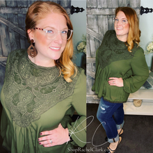 Load image into Gallery viewer, A Lace of Hope Blouse - Olive