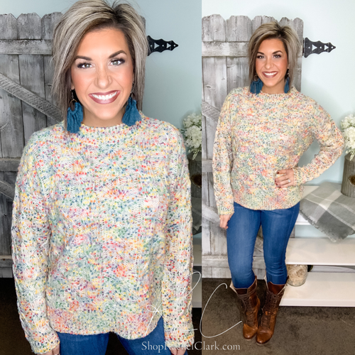 Color My World Confetti Pullover Sweater - Oatmeal