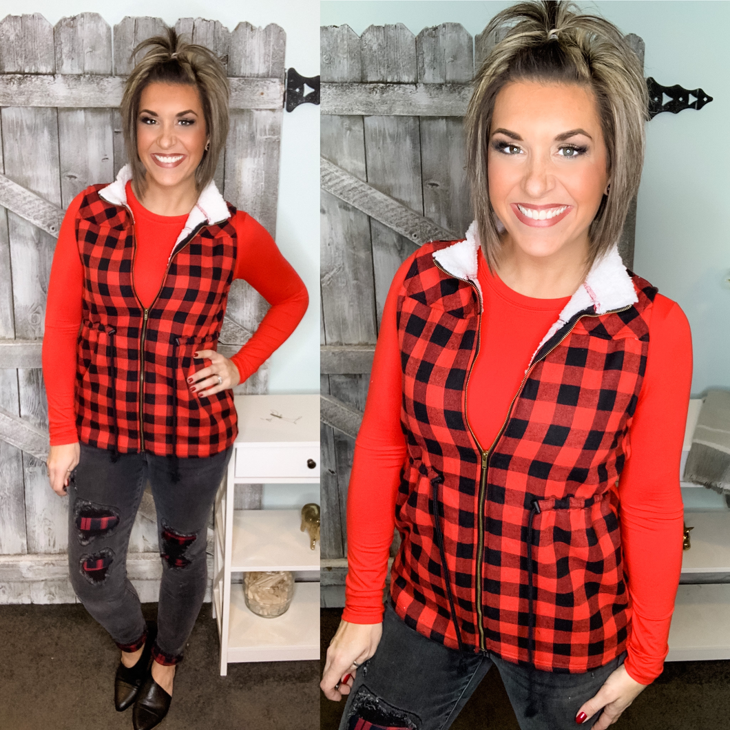 Joyful Together Plaid Vest - Black/Red
