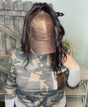 Load image into Gallery viewer, CC Brand - Glitter High Ponytail Ball Cap - Bronze