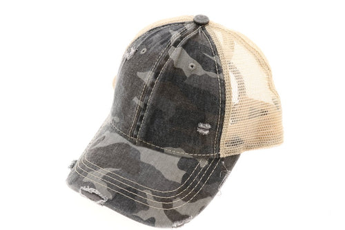 CC Brand - Distressed Camoflague Mesh Back Ball Cap - Grey