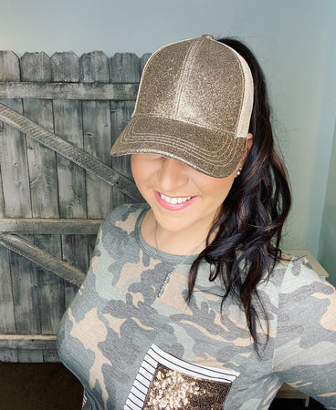 CC Brand - Glitter High Ponytail Ball Cap - Smokey Topaz