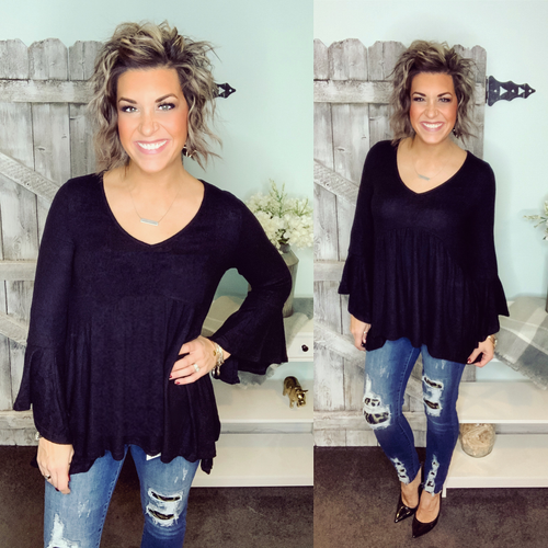 All I Need Hanky Hem Tunic - Black