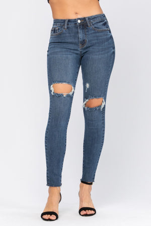 Judy Blue Destroyed Knee High Rise Skinny Jeans
