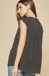 Spot You From Here Dot Print Blouse - Black