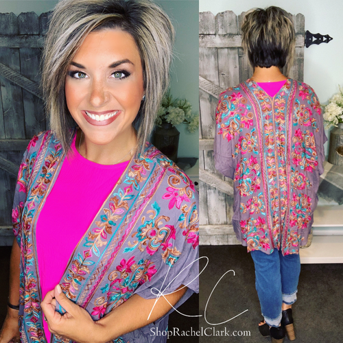 Stitched Together Embroidered Kimono