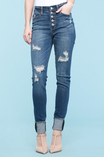Judy Blue Destroyed Button Fly Cuffed Jeans