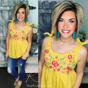 Ray of Sunshine Tie Shoulder Tank