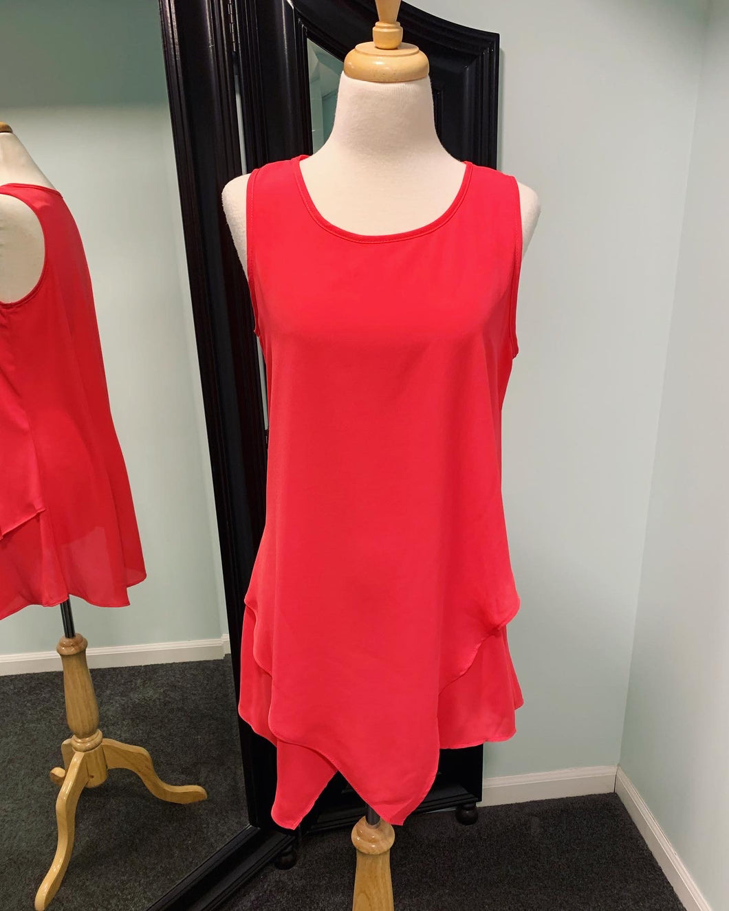 Precious Heart Asymmetric Tank - Hot Coral