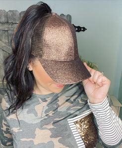 CC Brand - Glitter High Ponytail Ball Cap - Bronze