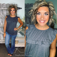 Load image into Gallery viewer, Sweet Sunday Waffle Knit Ruffle Tank - Charcoal