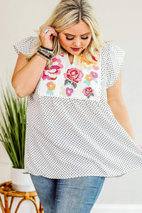 Spot You From Here Dot Print Blouse - Ivory