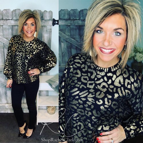 Shine On Leopard Balloon Sleeve Sweater - Black/Gold