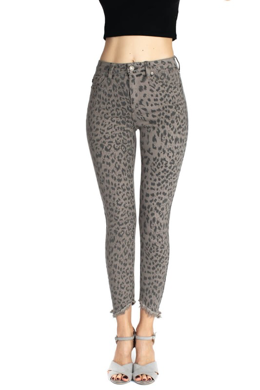 KanCan Animal Print Skinny Jean - Grey