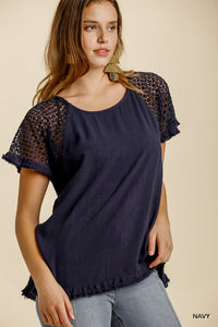 Yesterday Is Over Floral Crochet Top - Navy